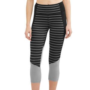 Women's Activewear Performance Capri Black Stripe
